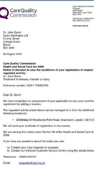 CQC registration London letter
